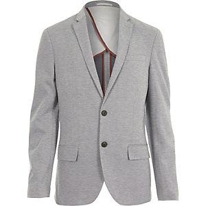 Grauer, schmaler Jersey-Blazer