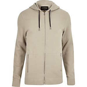 Grey zip-up pocket hoodie