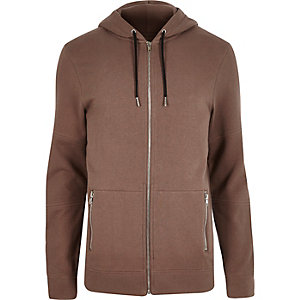 Brown zip-up pocket hoodie