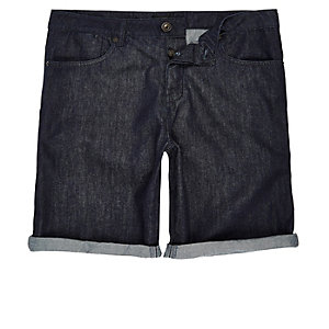 Dark rinse slim fit denim shorts