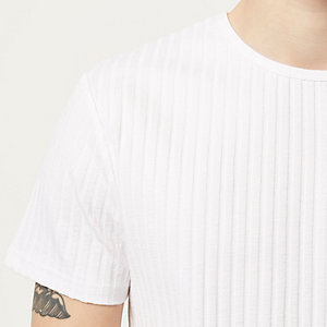 White chunky ribbed short sleeve top