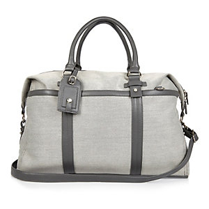 Grey textured holdall bag
