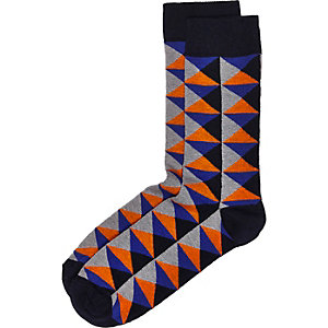 Black geometric pattern socks