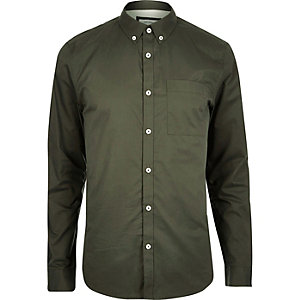 Green twill long sleeve shirt