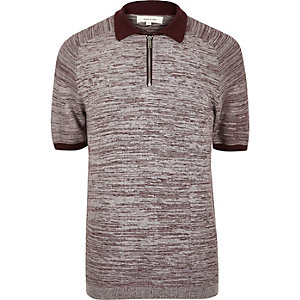 Dark red textured zip-up polo shirt