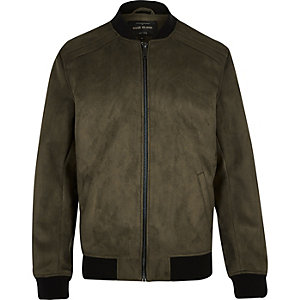 Dark blue faux suede bomber jacket