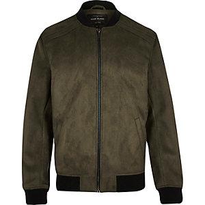 Khaki faux suede bomber jacket