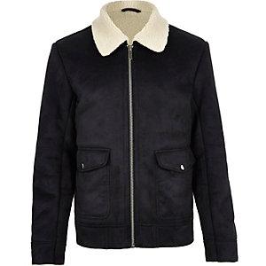 Dark blue shearling collar jacket