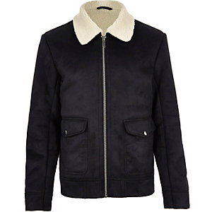 Dark blue shearling collar jacket