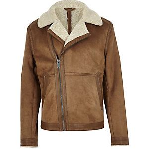 Light brown faux suede fleece jacket