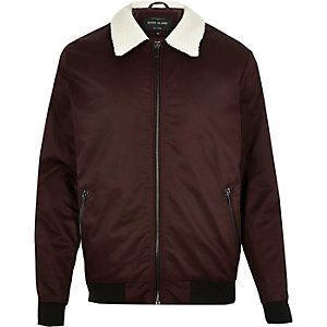 Dark red fleece collar harrington jacket