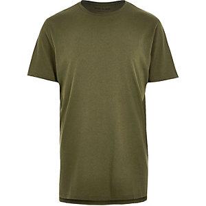 Dark green marl longline t-shirt