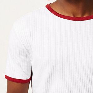 White crew neck rib short sleeve t-shirt