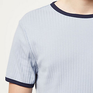 Blue crew neck rib short sleeve t-shirt