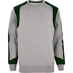 Grey Lou Dalton faux suede panel sweatshirt