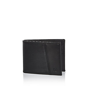 Black textured foldover wallet