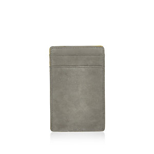 Grey leather yellow edge cardholder