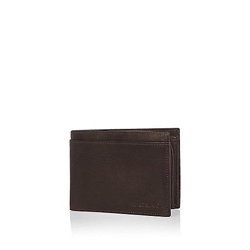Dark brown leather embossed wallet