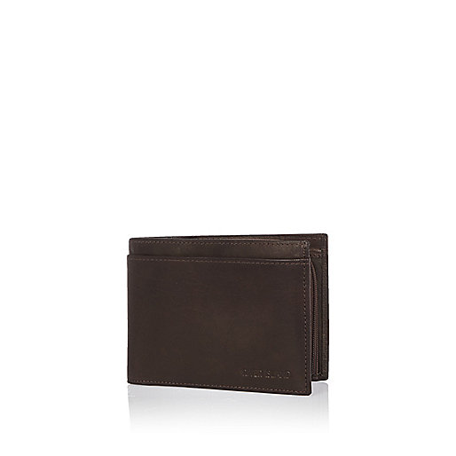Dark brown leather embossed wallet