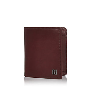 Red leather three fold wallet
