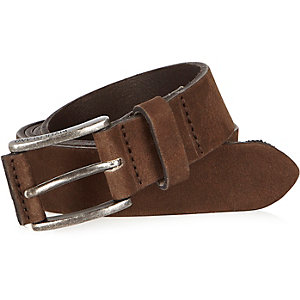Brown nubuck leather belt