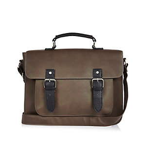 Dark brown buckle satchel bag