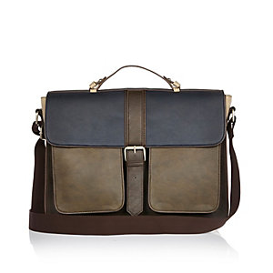 Dark brown block satchel bag