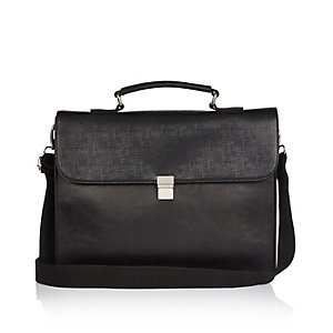 Black textured satchel bag
