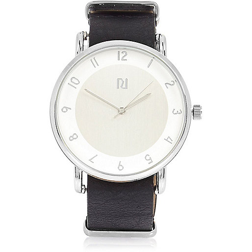 Black silver face watch