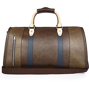 Dark brown block panel holdall bag