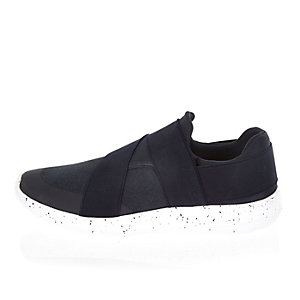 Navy slip on speckled sneakers