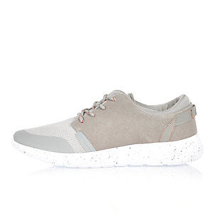 Grey flecked lace speckled trainers