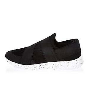 Black slip on speckled sneakers