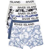 Lot de boxers bleus dont un imprimé feuillage