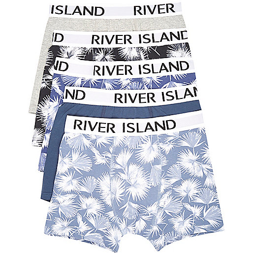 Blue leaf print trunks multipack