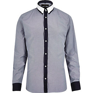 Navy smart contrast placket shirt