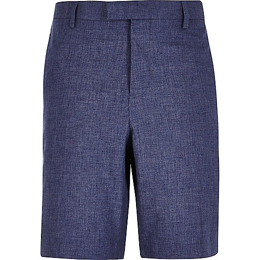 Blue linen bermuda shorts