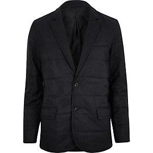 Navy padded quilted slim blazer