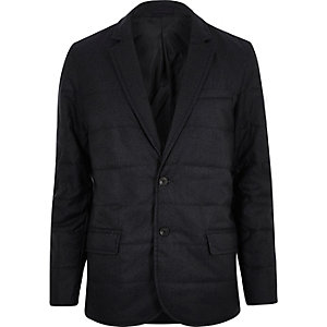 Navy padded quilted slim blazer