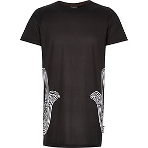 Black Jaded hamsa print longline t-shirt