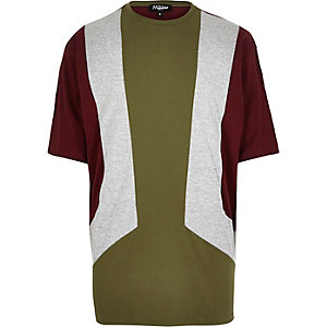 Green Jaded block panel t-shirt