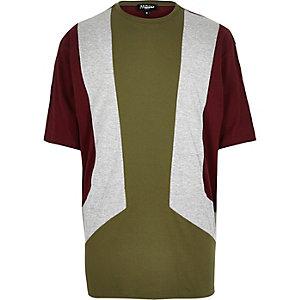 Green Jaded block panel t-shirt