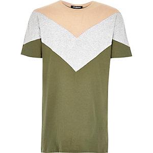 Dark green Jaded chevron print t-shirt