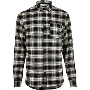 Black casual check stretch flannel slim shirt