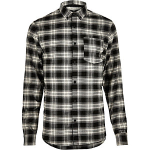 Black casual check stretch flannel slim shirt