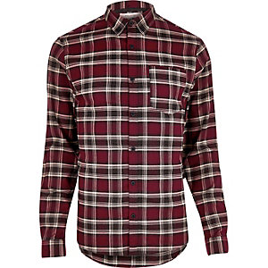 Red casual check stretch flannel slim shirt