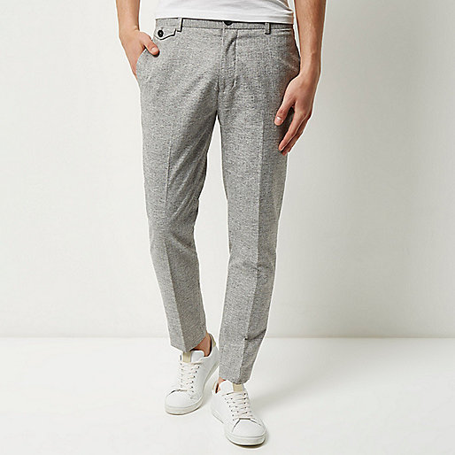Light grey skinny cropped trousers