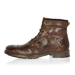 Dark brown leather utility boots