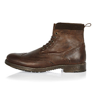 Brown leather brogue worker boots