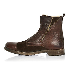 Dark brown leather utility zip boots